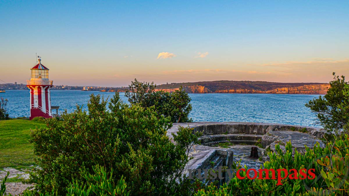 Hornby Lighthouse, old cannon placement, and Sydney Heads