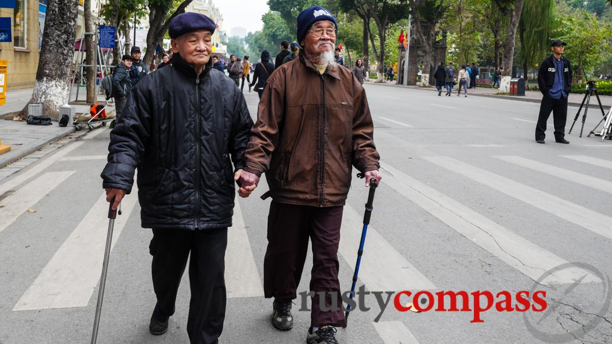 Two delightful old walkers - Hanoi