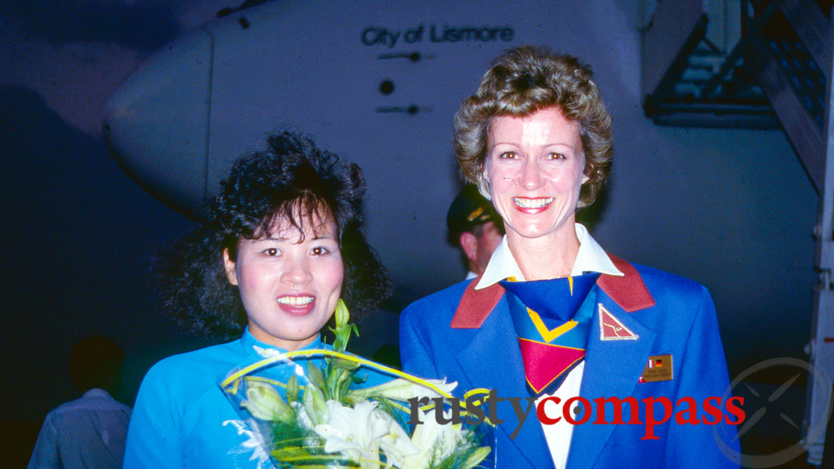Flowers and ao dais - the first post-war Qantas flight between Australia and Vietnam - December 1990
