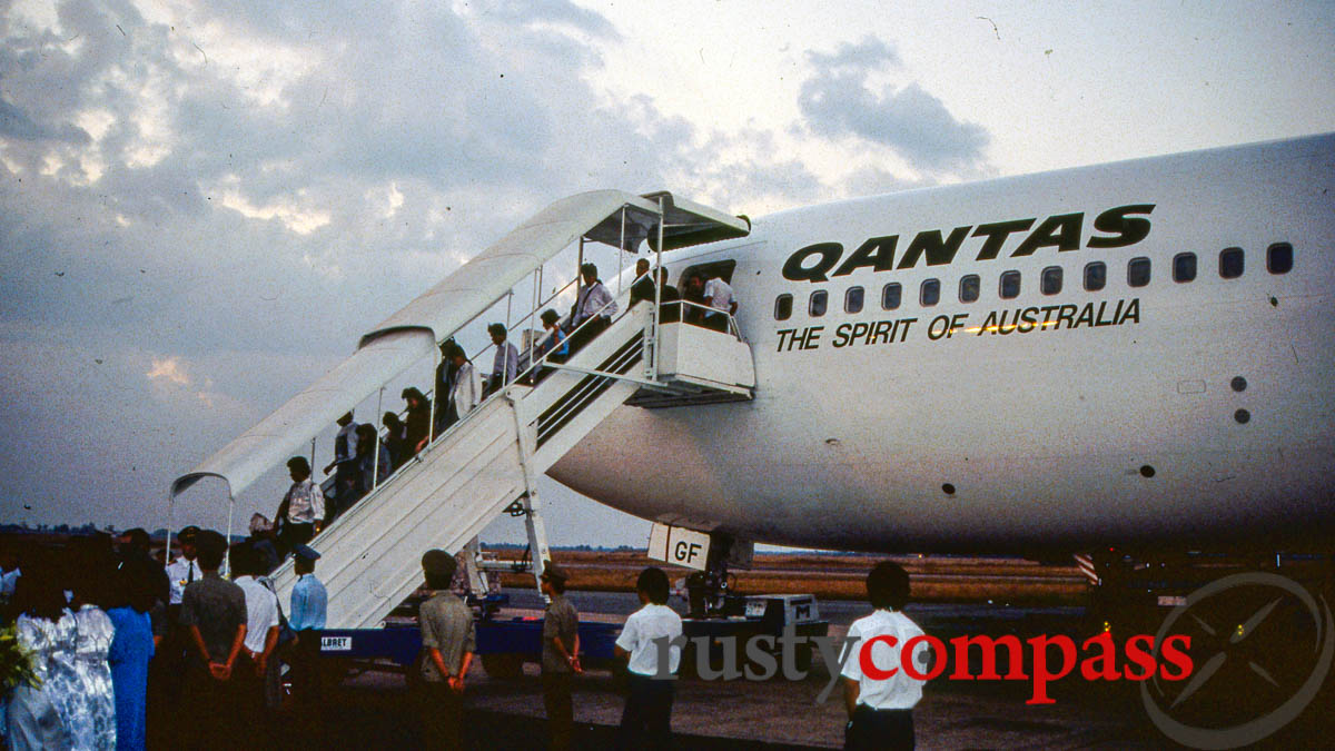 The Lismore on the tarmac in Saigon - the first post-war Qantas flight between Australia and Vietnam - December 1990