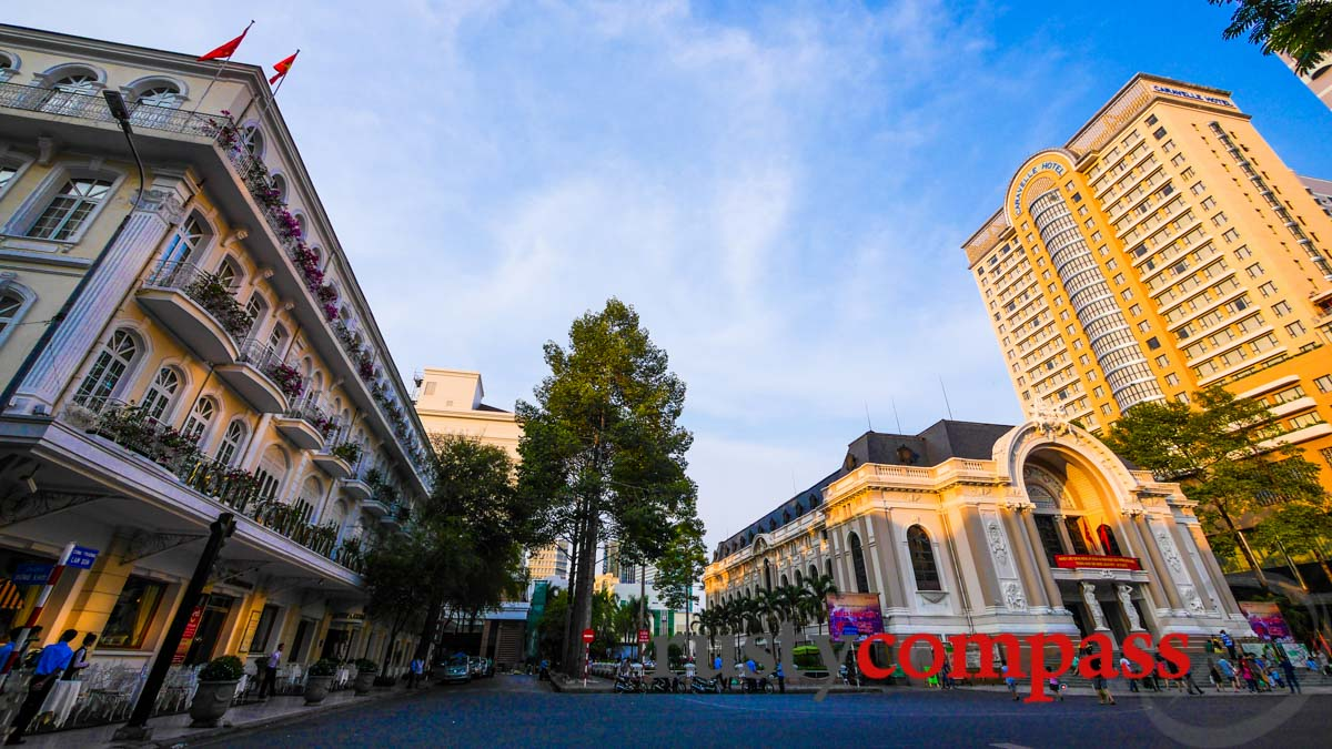 Saigon's historic heart - Continental Hotel, Opera House and Caravelle Hotel