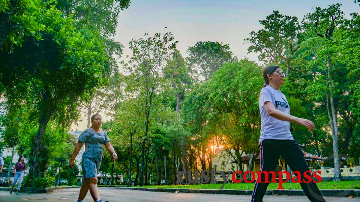 Getting some exercise in one of Saigon's downtown parks