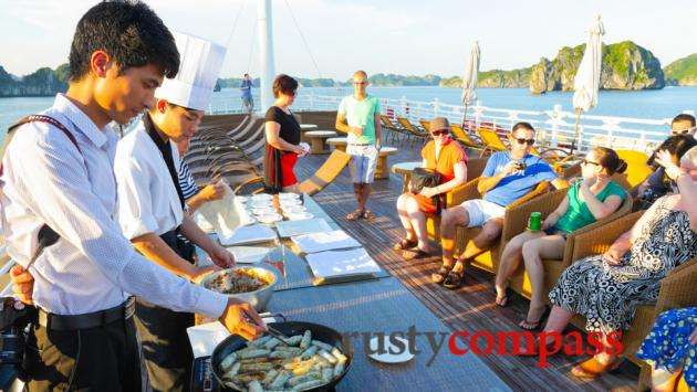 Late afternoon cooking class, Au Co, Halong Bay