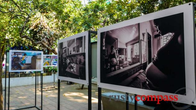 A photographic exhibition in the grounds of the French Institute, Phnom Penh