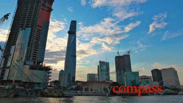 Changing city skyline from the Saigon River. Financial Tower.
