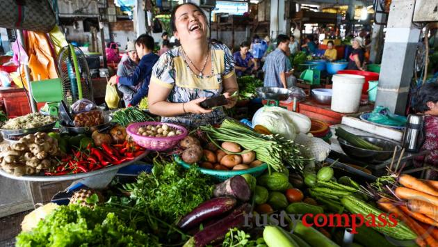 Vege stand, Chau Doc market