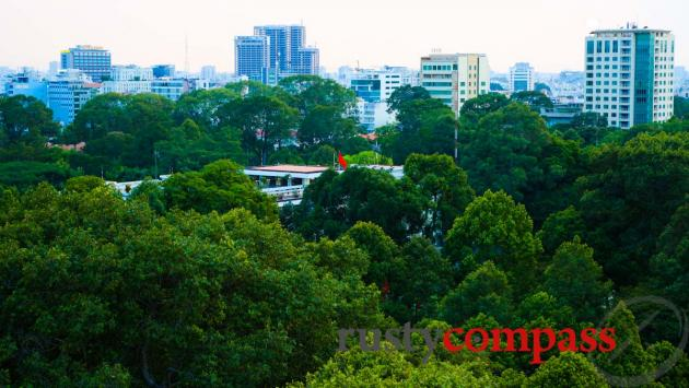 Across the trees to the historic former Presidential Palace, Glow Saigon