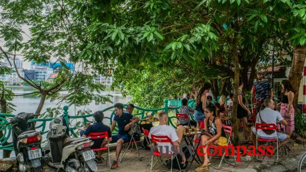 Expat heaven - morning catchup West Lake, Hanoi