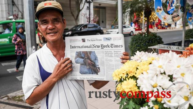 The internet hasn't completely wiped out Saigon's newspaper sellers.