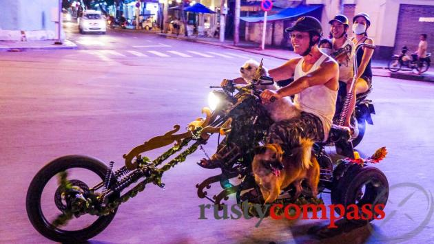 Fancy bike and fancy dogs, Saigon