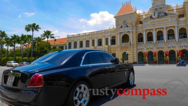 The centre of government in Saigon - and a Rolls Royce.