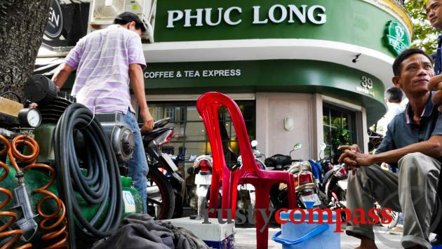 The motorbike repair man and the curiously named local coffee chain.
