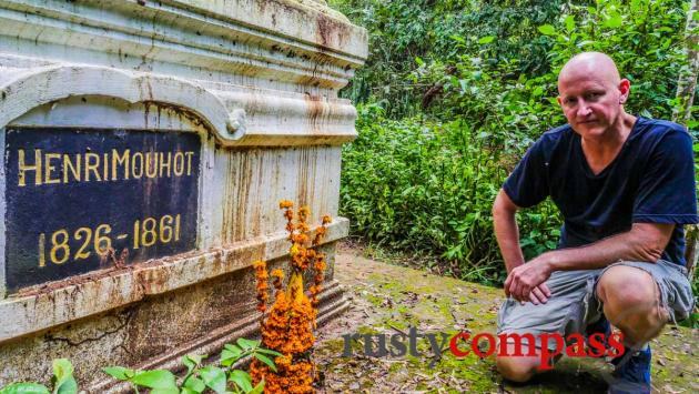 At the grave of Mekong explorer, Henri Mouhot, Luang Prabang