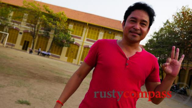 Met a famous Khmer actor playing soccer in the grounds of Preah Sisowath School