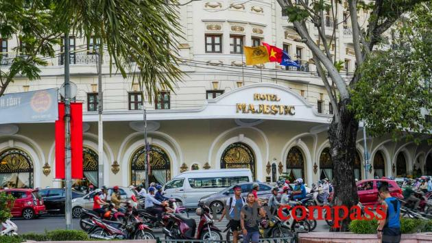 On the busy riverfront - Majestic Hotel, Saigon