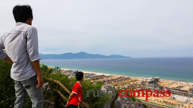 The Danang coast from Marble Mountains.