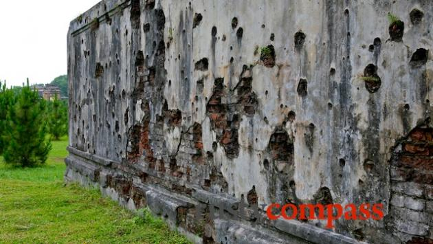 Pock marked wallls, Nam Giao, Hue