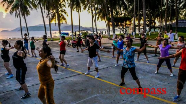 Morning exercise on the beach, Nha Trang