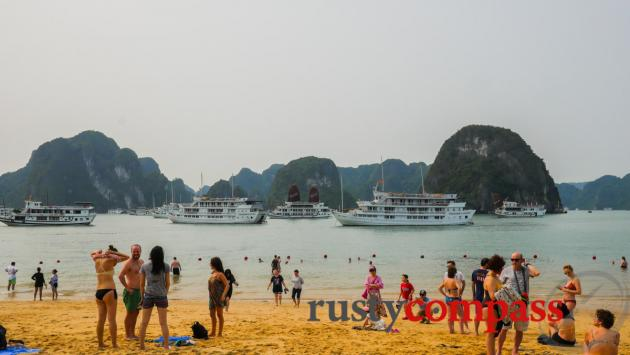 Swimming in Halong Bay- less enticing these days