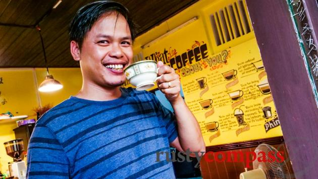 Mr Thinh, the owner at Phinh Espresso and Drip Cafe, Hoi An