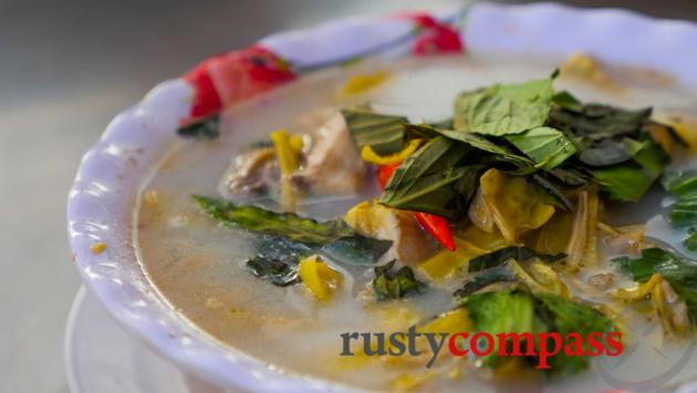 Tasty Khmer soup in a local streetside eatery.