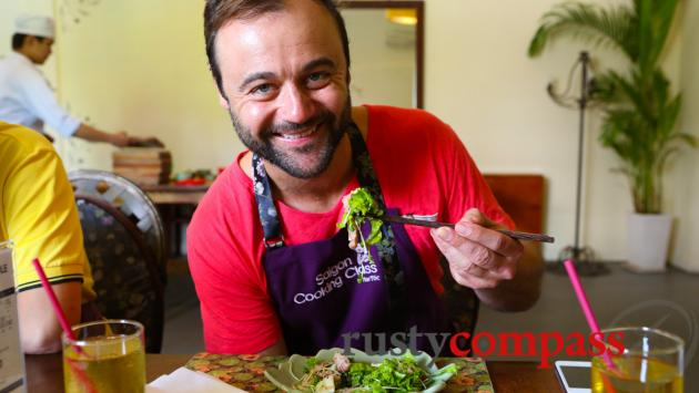 Award winning Australian actor Gyton Grantley was a surprise, anonymous participant at Saigon Cooking Class.
