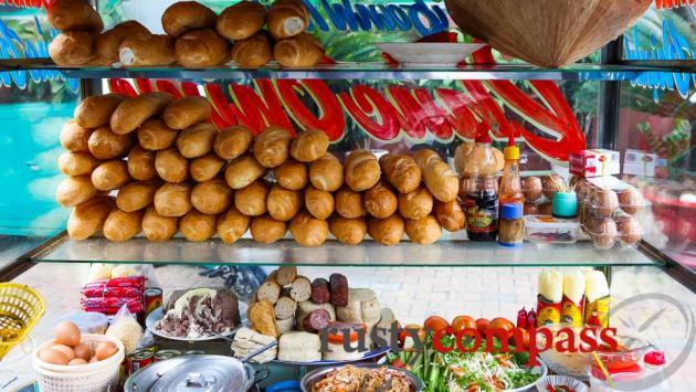 Banh Mi Vietnamese bread roll stand.