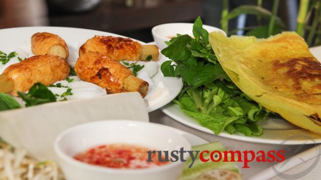 Ngon Restaurant, Saigon. Chao Tom (shrimp on sugar cane) and banh xeo (Vietnamese pancake).