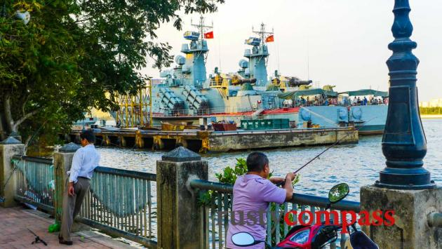 Fishing - a toxic catch. Saigon river walk.