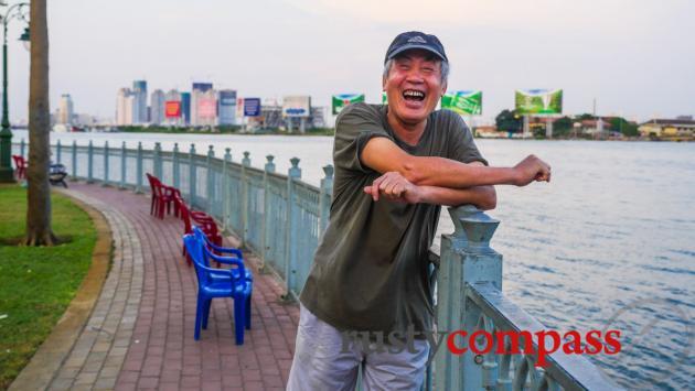 Local characters - Saigon River walk.