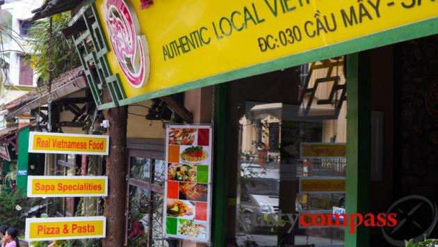 Authentic Vietnamese pizza and pasta - typical downtown tourist eatery in Sapa.