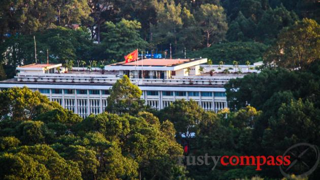 The Reunification Palace on a long lens from Shri rooftop.