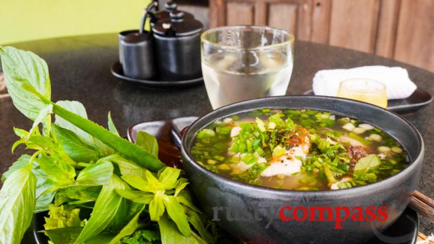 A bowl of pho noodle soup from the Market at Six Senses, Con Dao.