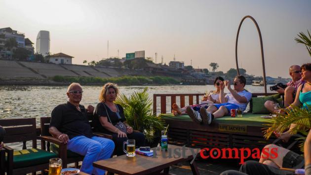 Sunset cruising on the Mekong, Phnom Penh