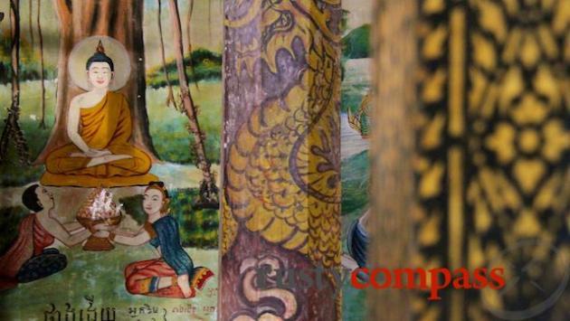 Khmer frescoes in Ang Pagoda, Tra Vinh
