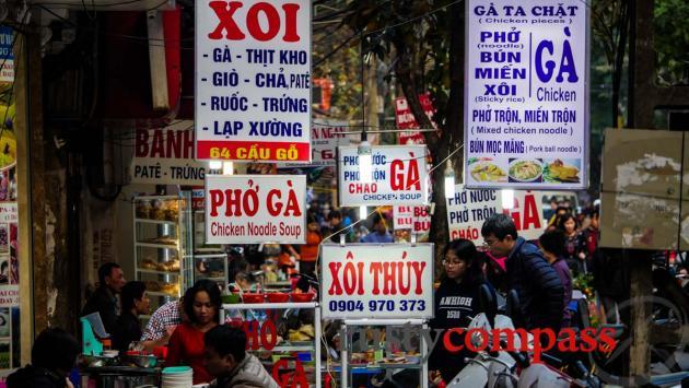 Abundant street food in Hanoi