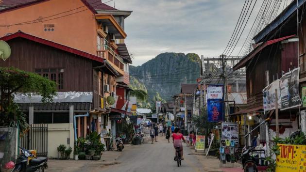 Downtown Vang Vieng, Laos