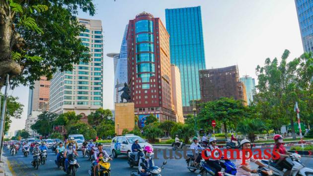Saigon traffic and its fast changing skyline.