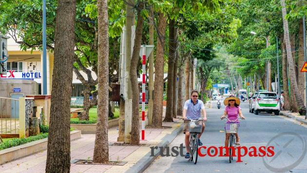 Cycling tree lined streets, Vung Tau