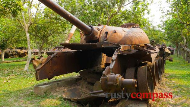 Russian tank used by Vietnamese troops and destroyed by Khmer Rouge - War Museum Cambodia, Siem Reap