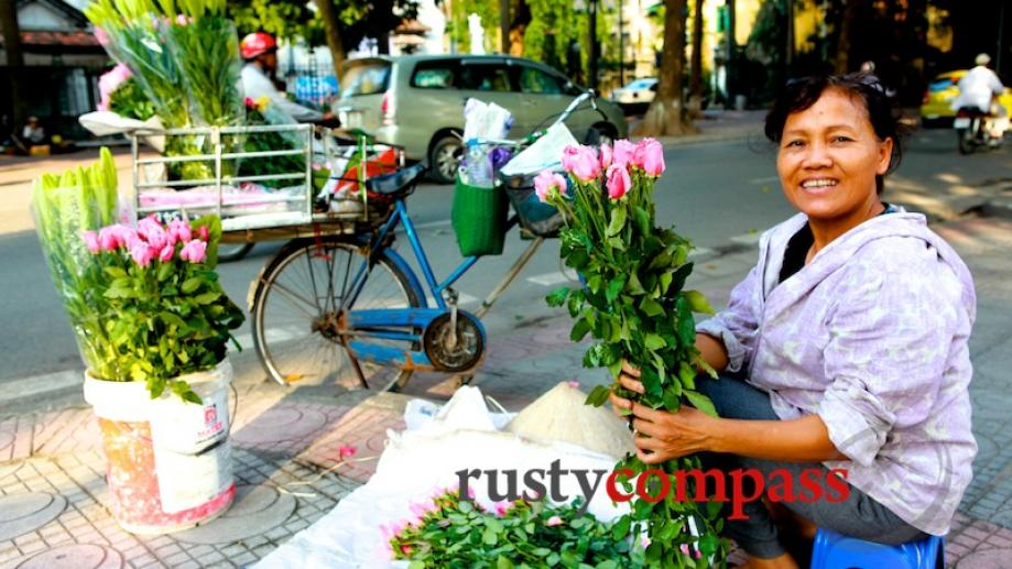 A flower seller just off Ba Dinh Square, Hanoi