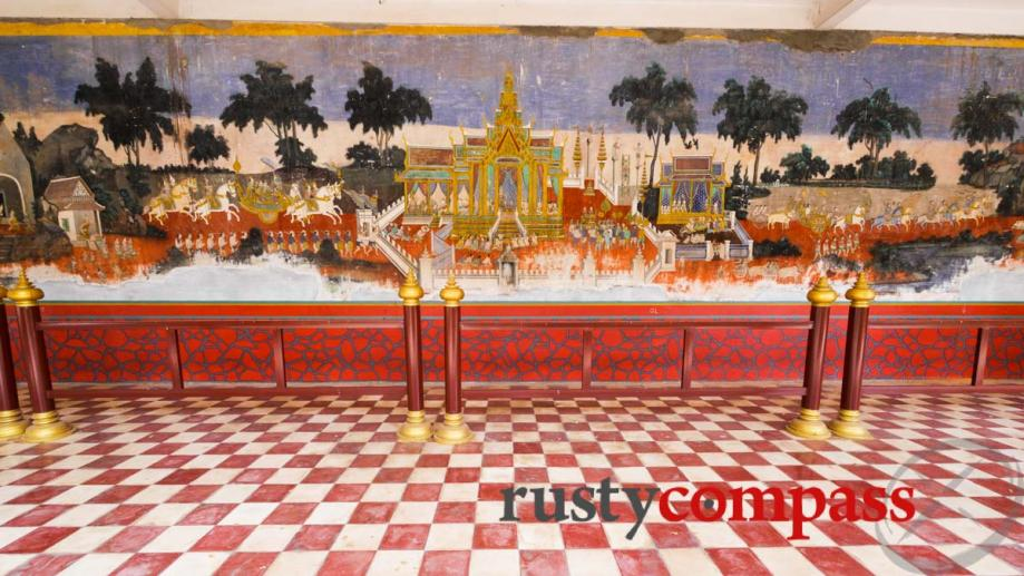Frescoes and tiles at the Royal Palace, Phnom Penh