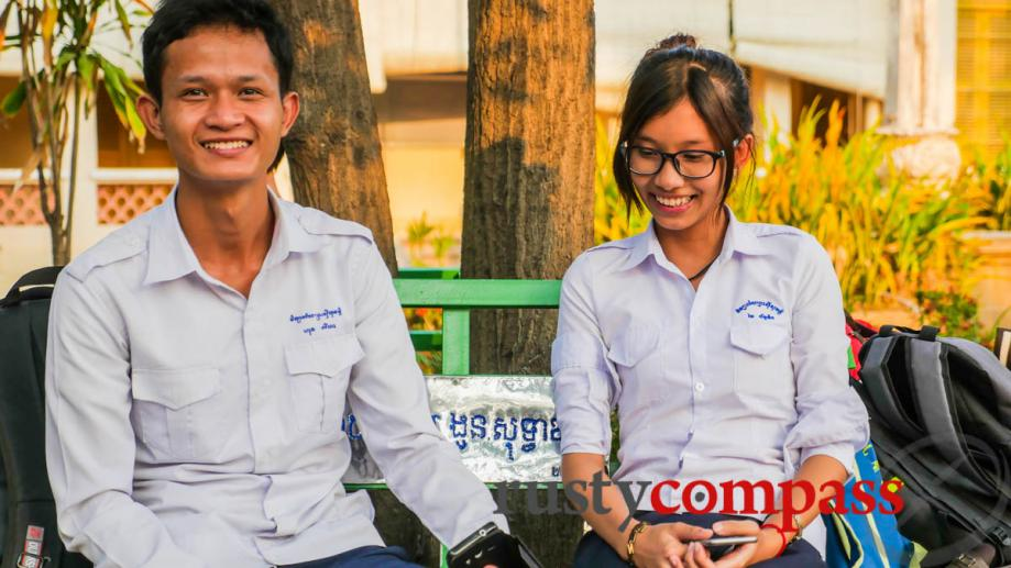 A young couple at Sisowath School in Phnom Penh. The...
