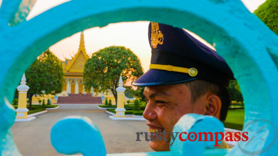 Smiling guard at the Royal Palace, Phnom Penh