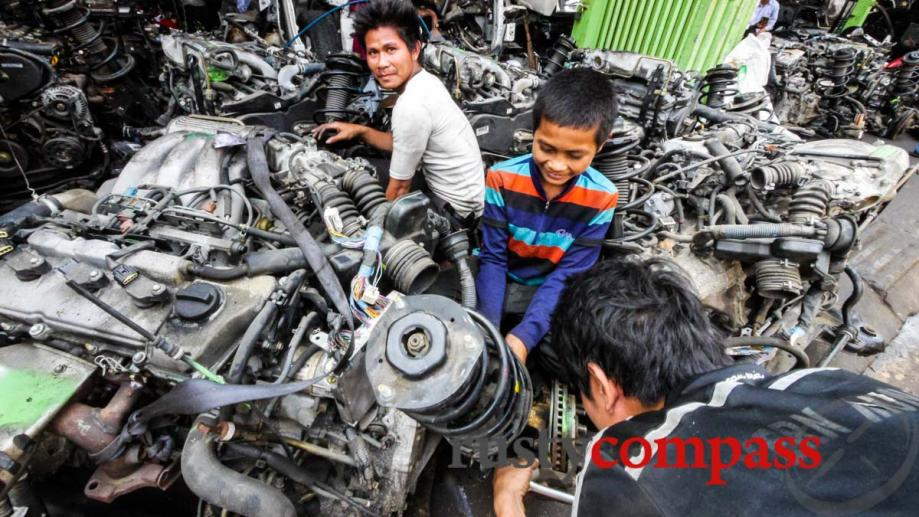 A Lexus graveyard in Phnom Penh - organ transplants in...