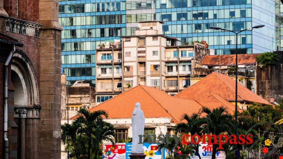 Layers of Saigon - the cathedral, a former French colonial...