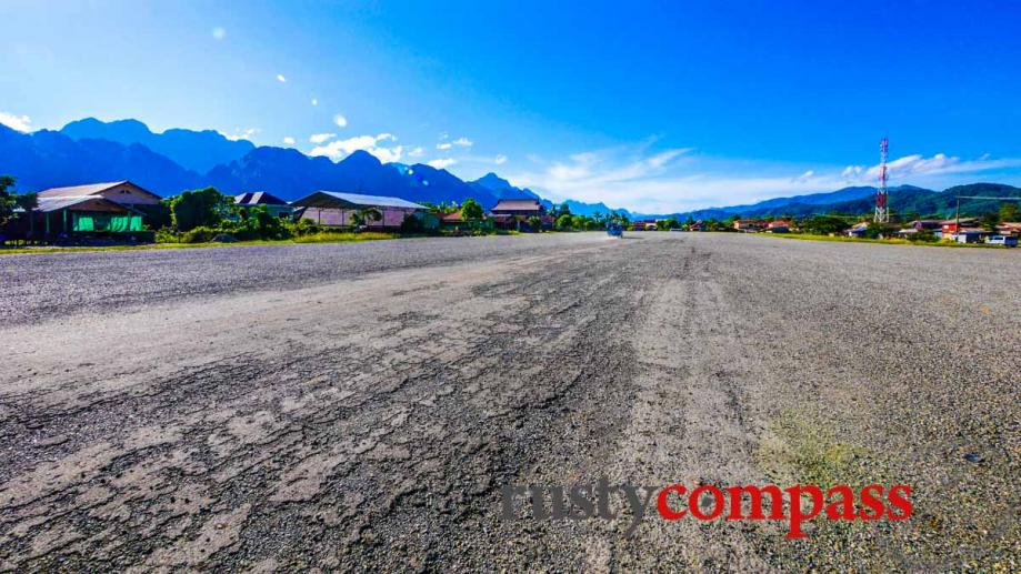 The former US military airstrip at Vang Vieng from the...
