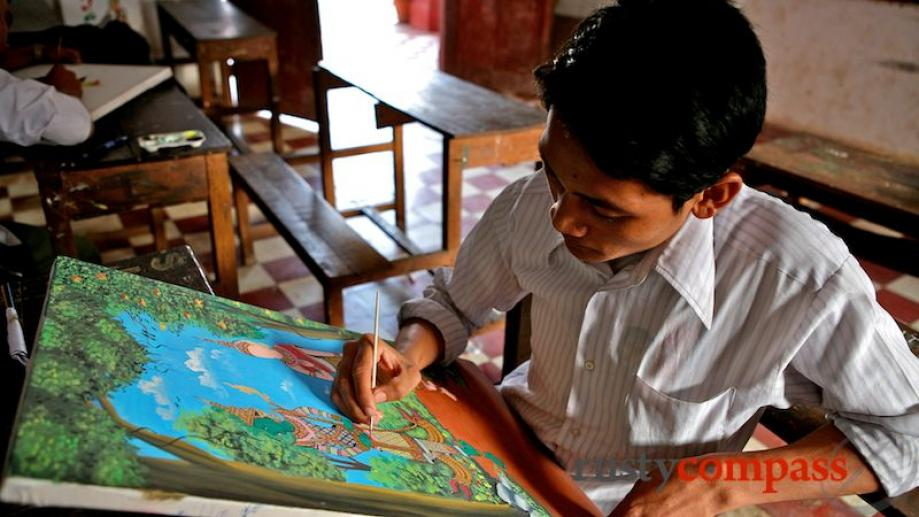 Students at work at the former École des Arts Cambodgiens...