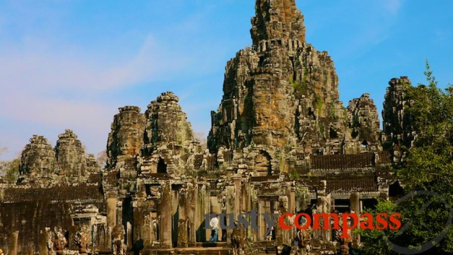 The Bayon's incredible detail is indiscernible from afar. On approach...