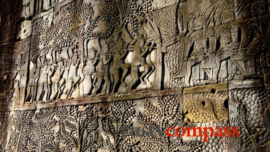 The Bayon's bas reliefs depict daily life as well as...